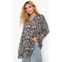 Womens Tonal Zebra Print Oversized Floaty Shirt - Black - 12, Black