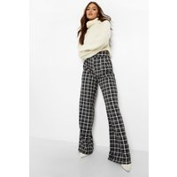 Womens Check High Waisted Woven Formal Trousers - Grey - 8, Grey