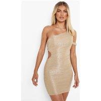 Womens Metallic Plisse Cut Out Mini Dres - Beige - 12, Beige
