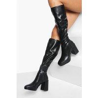 Womens Pu Knee High Platform Boots - Black - 3, Black