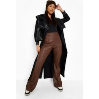 Womens Seam Front Flared Formal Pu Trousers - Brown - 10, Brown