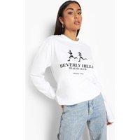Womens Beverly Hills Health Club Long Sleeve T Shirt - White - Xl, White
