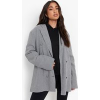 Womens Double Breasted Dogtooth Oversized Blazer - Black - 10, Black