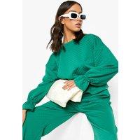 Womens Quilted Pep Hem Sweatshirt - Green - 8, Green