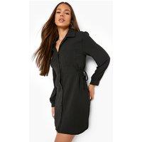 Womens Textured Waist Detail Shirt Dress - Black - 16, Black