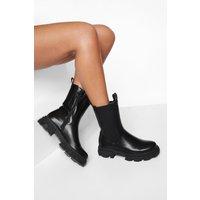 Womens Chunky Calf Height Chelsea Boot - Black - 5, Black