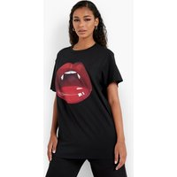 Womens Lip Print Halloween Oversized T-Shirt - Black - Xl, Black