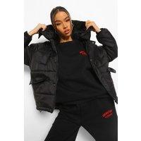 Womens Oversized Hooded Puffer Jacket - Black - 12, Black