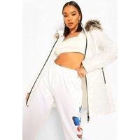 Womens Longline High Shine Faux Fur Trim Parka - White - L, White