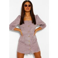 Womens Cord Volume Sleeve Denim Dress - Beige - 12, Beige
