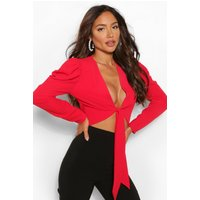 Womens Crepe Puff Sleeve Tie Front Top - Red - 16, Red