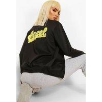 Womens Angel Print Bomber Jacket - Black - 10, Black