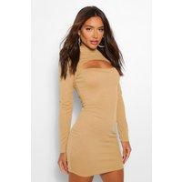 Womens High Neck Cut Out Mini Dress - Beige - 10, Beige