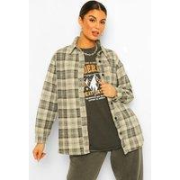 Womens Check Denim Jacket - Beige - 8, Beige