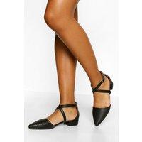 Womens Croc Pointed Toe Cross Strap Ballet Pumps - Black - 5, Black