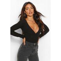 Womens Bust Detail Knitted Rib Bodysuit - Black - M, Black