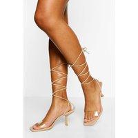 Clear Strap Wrap Up Stiletto Heels, Beige
