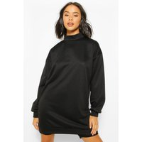 Womens High Neck Oversized Sweatshirt Dress - Black - 18, Black