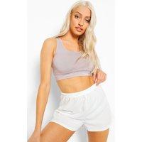 Womens Ribbed Shorts - White - 8, White