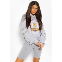Womens Athletic Graphic Mixed Fabric Hooded Jumper - Grey - 6, Grey