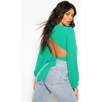 Womens Puff Sleeve Tie Back Blouse - Green - 12, Green