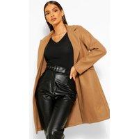 Womens Tailored Wool Look Coat - Beige - 16, Beige