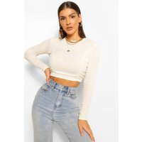 Womens Ruched Front Rib Long Sleeve Crop Top - White - 14, White