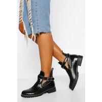 Womens Croc Cutwork Stud Detail Chelsea Boots - Black - 5, Black