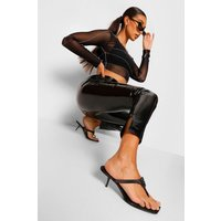 Womens Super Stretch Vinyl Split Hem Leggings - Black - 16, Black
