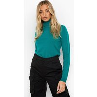 Womens Basic Roll Neck Jumper - Green - L, Green
