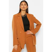 Womens Tailored Double Breasted Button Blazer - Brown - 12, Brown