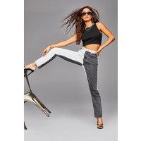 Womens Colour Block High Raise Straight Leg Jeans - Black - 8, Black