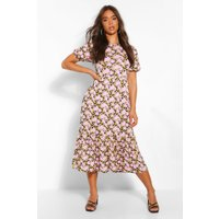 Womens Floral Puff Sleeve Tiered Midaxi Dress - Pink - 10, Pink