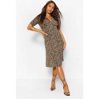 Womens Leopard Print Midi Tea Dress - Multi - 16, Multi