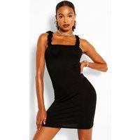 Ruffle Strappy Jersey Basic Sundress - Black - 10, Black