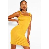 Ruffle Strappy Jersey Basic Sundress - Yellow - 10, Yellow