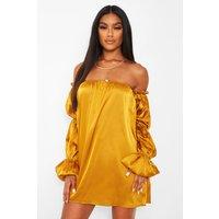 Womens Satin Puff Sleeve Smock Dress - Yellow - 10, Yellow