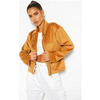 Womens Jumbo Cord Cropped Jacket - Brown - 12, Brown