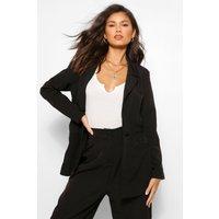 Womens Cinched Waist Oversized Blazer - Black - 12, Black