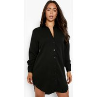 Womens Oversized Dipped Hem Shirt Dress - Black - 12, Black