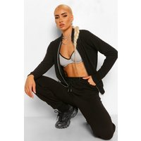 Womens Quilted Bomber Jacket - Black - 10, Black