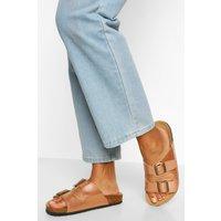 Womens Double Strap Footbed Sliders - Metallics - 3, Metallics