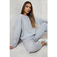 Womens Slouchy Rib Knitted Tracksuit - Grey - S, Grey