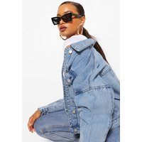 Womens Pocket Denim Jacket - Blue - 10, Blue