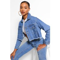 Womens Oversized Crop Denim Jacket - Blue - 16, Blue