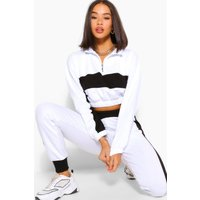 Womens Colour Block Half Zip Sweat And Jogger Tracksuit - White - M, White