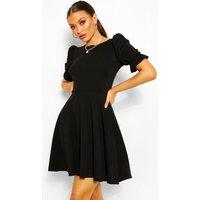 Puff Sleeve Skater Dress - Black - 10, Black