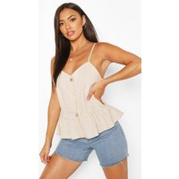 Womens Button Detail Woven Peplum Cami - White - 14, White