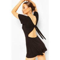 Womens Jersey Cap Sleeve Tie Back Playsuit - Black - 12, Black