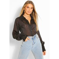 Womens Stripe Shirred Cuff Shirt - Black - 14, Black